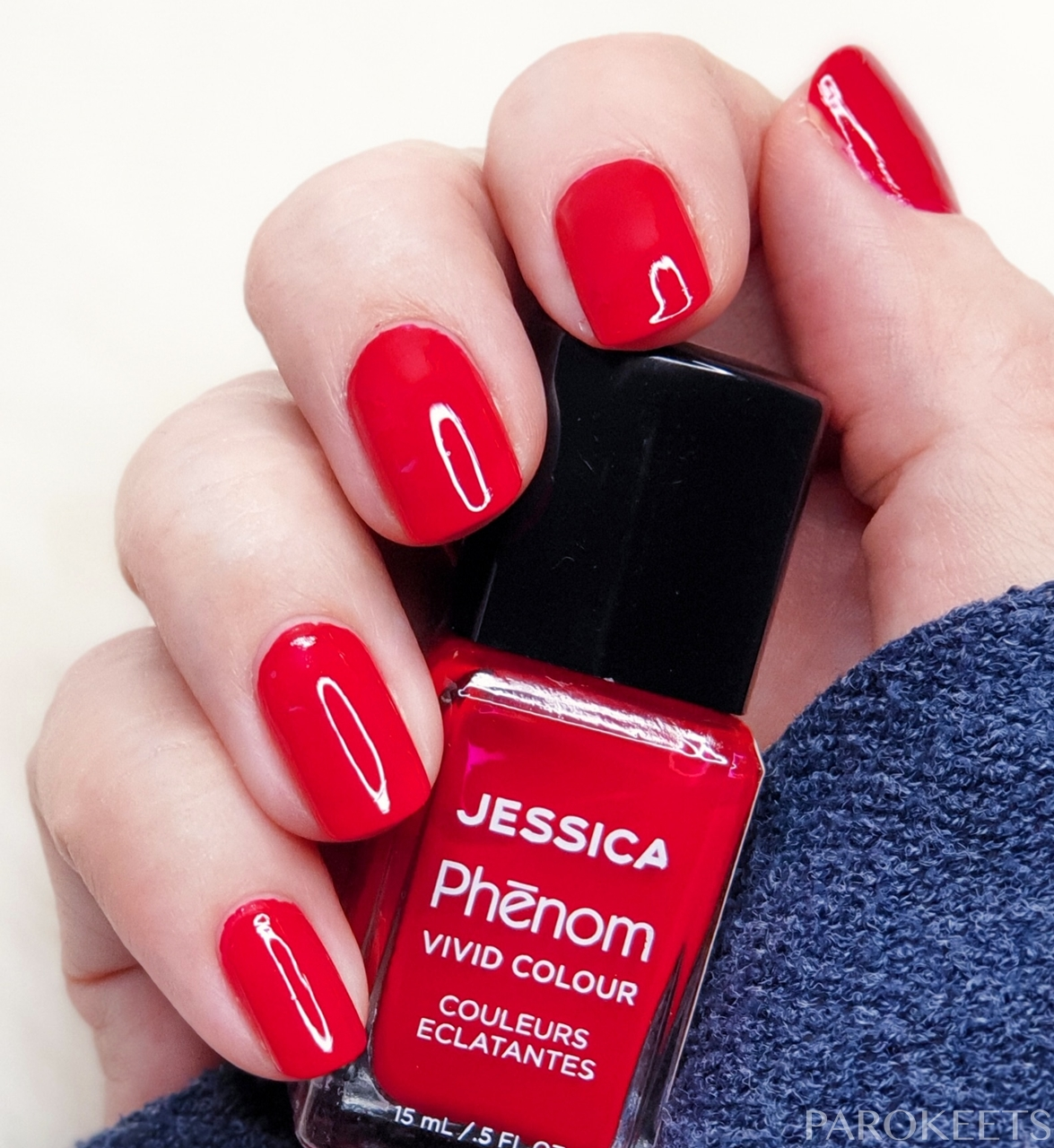 Jessica Phenom - Jessica Red nail polish + Poshe fast drying top coat