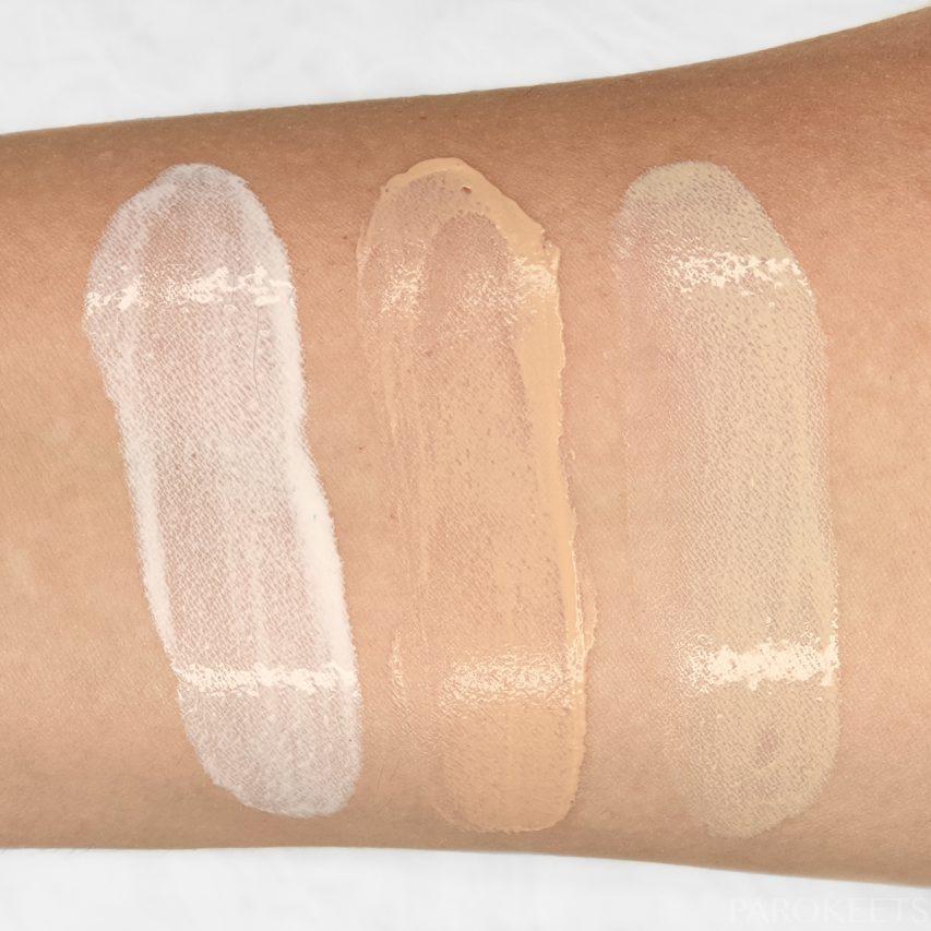 Comparison of mineral sunscreens colors: Make prem UV defense me, NIOD Survival 30, Australian Gold Botanical SPF 50,NIOD Survival 30